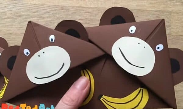 How to make a monkey corner bookmark made from paper
