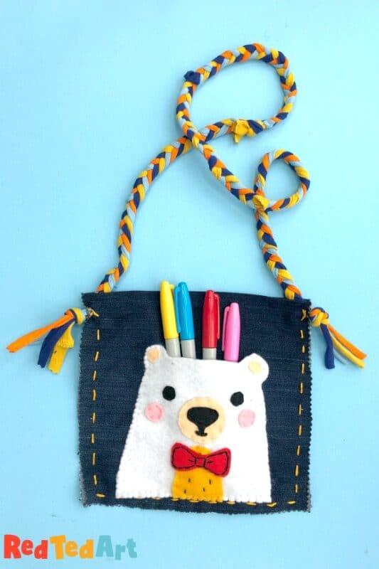 How to sew a teddy bear purse with denim and tshirt yarn
