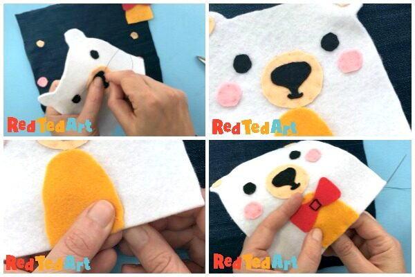 step by step process of sewing on Ted's features with fine thread