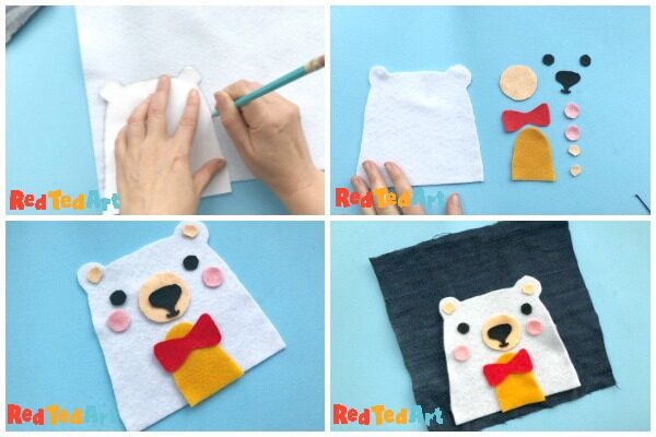 Collage of how to make a Teddy Purse - cutting your template out and arranging it