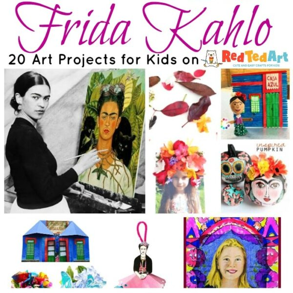Collage of Frida Kahlo Art Projects for Kids, including self portraits, Caza Azul and flower headbands.