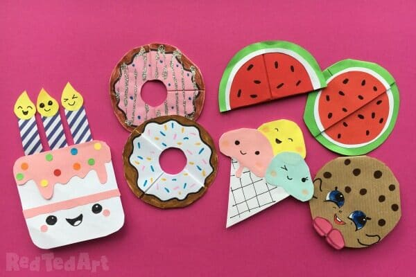 Collection of Corner Bookmark Designs that are food and kawaii