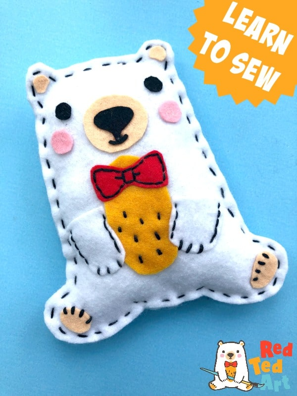 Sew a Softie Teddy Bear with Red Ted Art