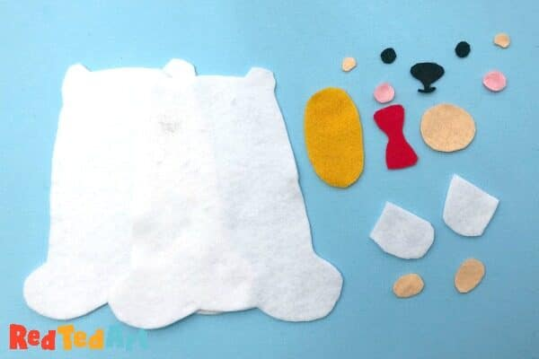 shapes needed for your teddy bear felt toy