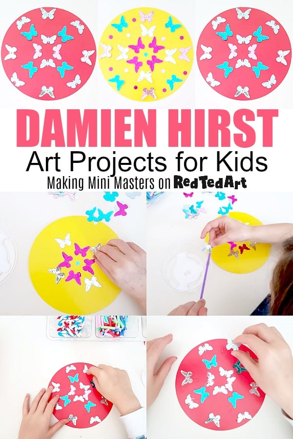 Damien Hirst Kaleidoscope butterfly series for kids - collage of work in progress