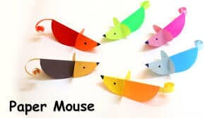 Easy paper mice made from colourful paper
