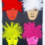 Mixed Media Andy Warhol Portraits with kids - collage of 4 Andy Warhol Art Projects by kids