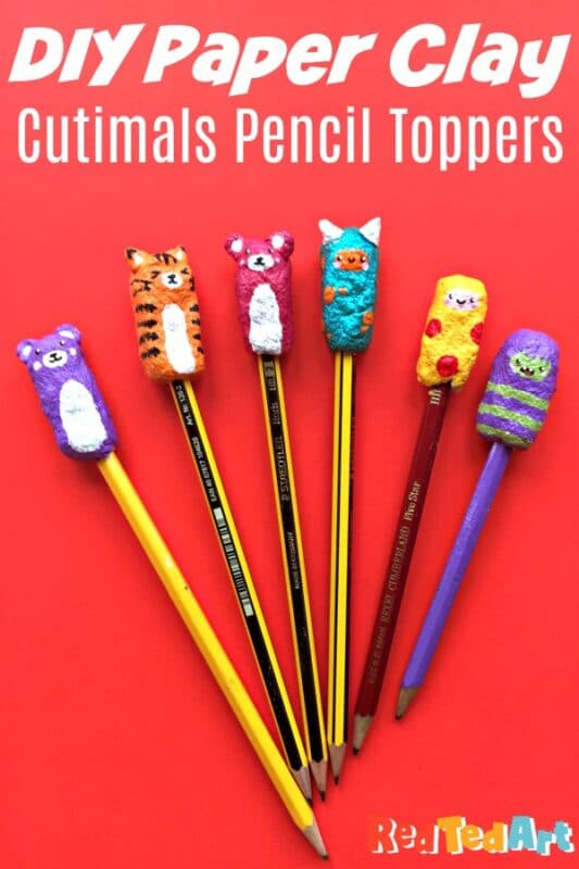 Different pencil toppers made with paper clay