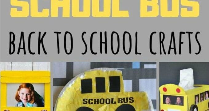 Collage of back to school crafts for kids - the yellow school bus