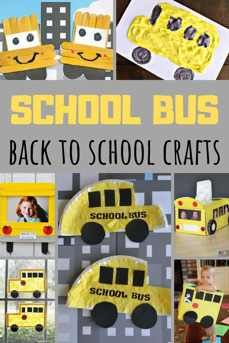 Yellow School Bus Crafts for kids - collage of crafts for Back to School