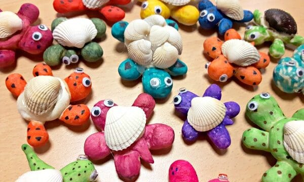 Collection of salt dough and sea shell turtle craft for kids to make at group