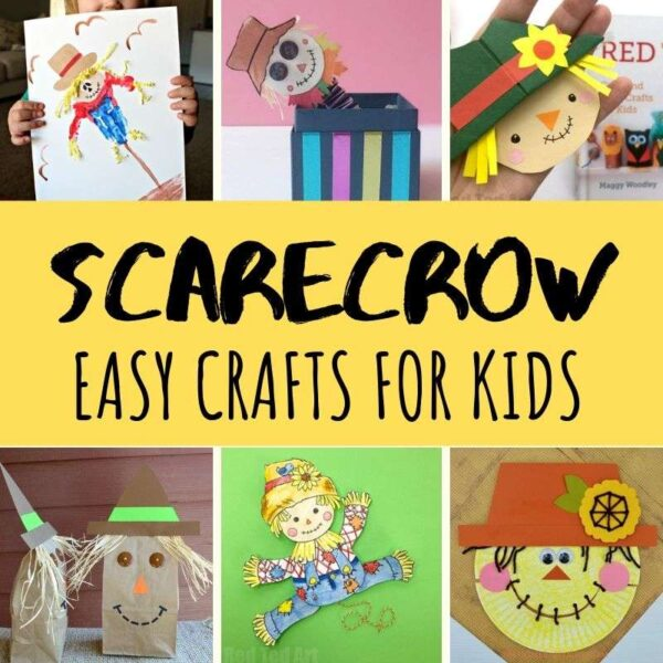 Collage of easy scarecrow crafts for kids
