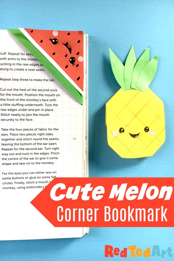 Cute Melon Corner Bookmark Design with Pineapple