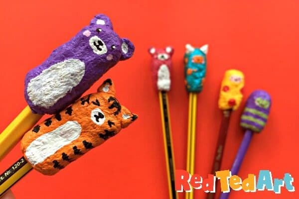 Close up of Different pencil toppers made with paper clay