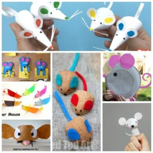 Collage of rat and mouse crafts for kids