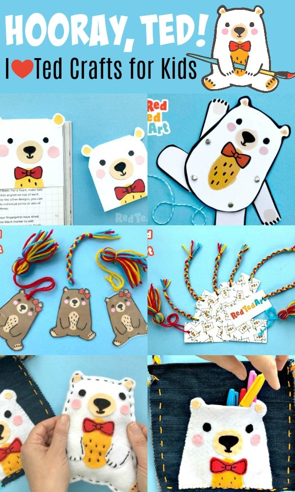 Collage of Red Ted Crafts for kids