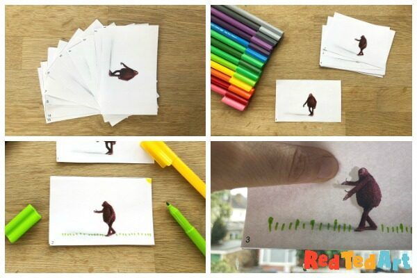 How to draw a flip book, step by step instructions collage