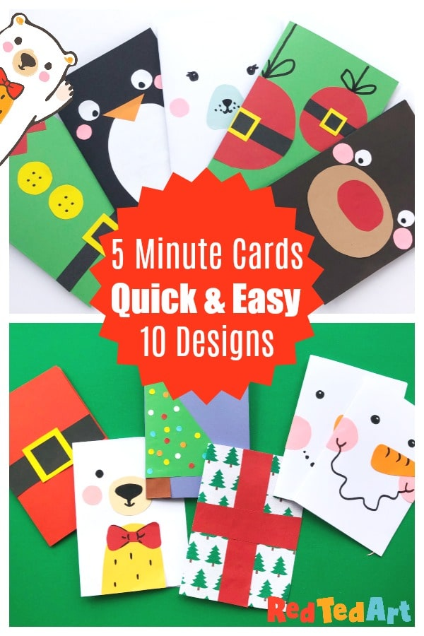 Collage of quick and easy Christmas card designs