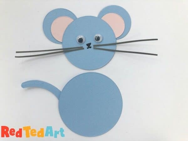 assembling a paper mouse puppet