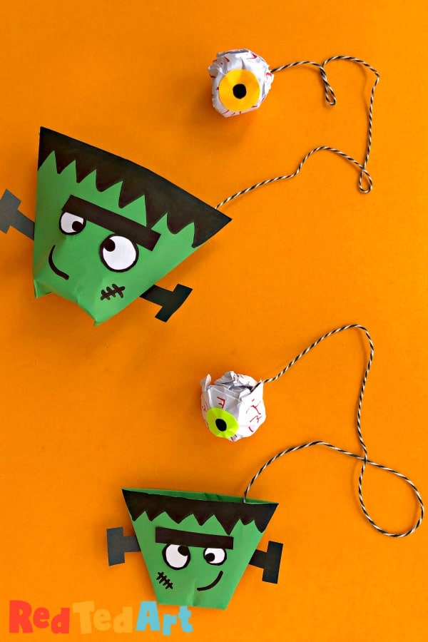 Easy Paper Cup and Ball Game for Halloween - Frankenstein and Eyeball design
