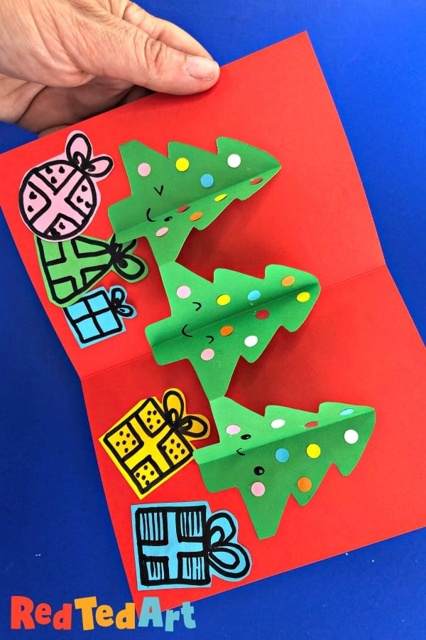 Christmas Chain Text.Paper Chain Pop Up Christmas Tree Card Diy Red Ted Art