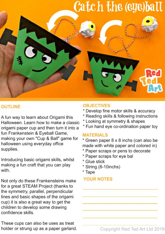 Example of worksheet introduction of our Easy Paper Cup and Ball Game for Halloween - Frankenstein and Eyeball design