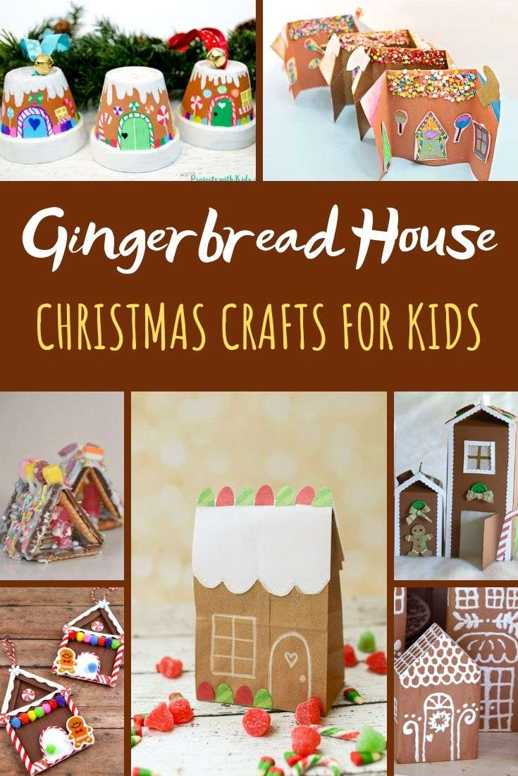 Collage of Ginger Bread House Craft Ideas for kids