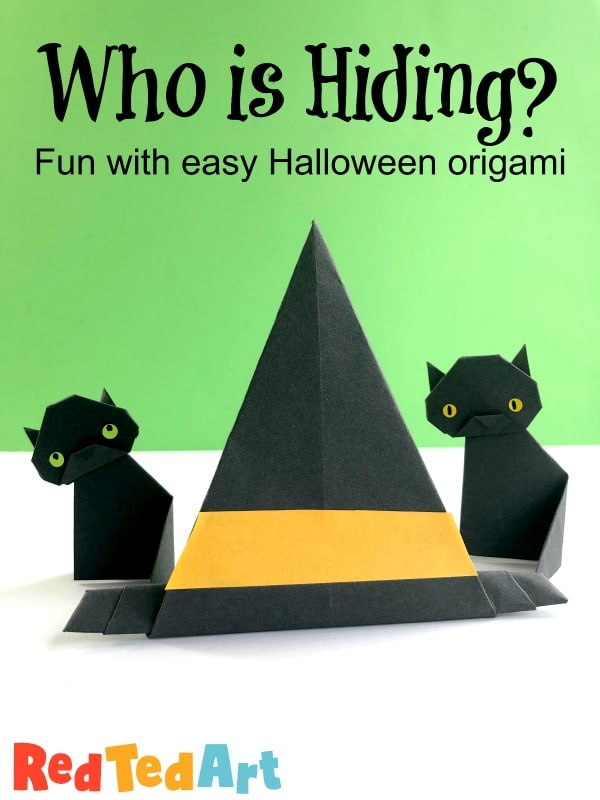 Selection of Paper Halloween Origami crafts - this shows how to make a paper witch hat origami