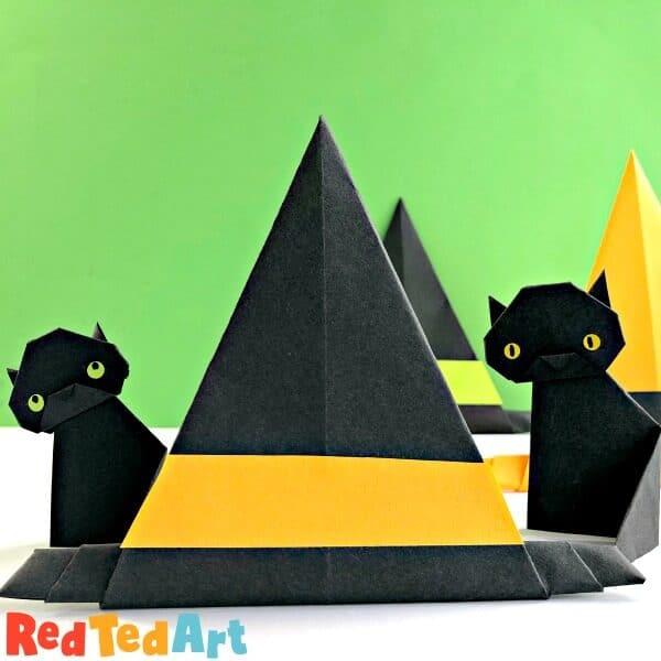 Paper Witch's Hat with black cats