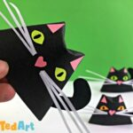 Easy paper black cat for halloween - fun 3d room decor design
