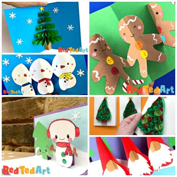 Collage of 3d and Pop Up Christmas Cards - quick and easy to make