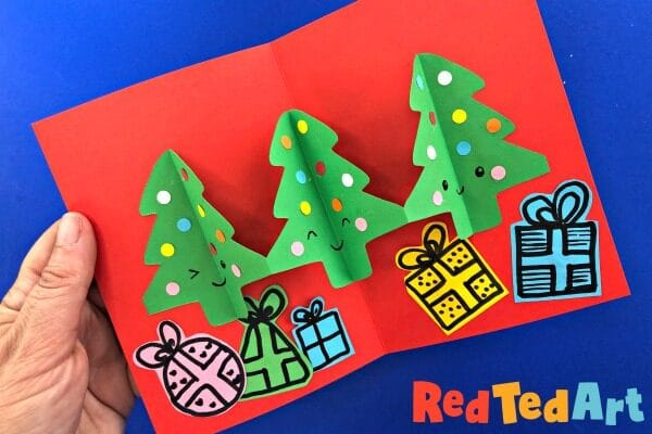 3d Christmas Tree Cards made from paper chains, easy Christmas tree pop up cards