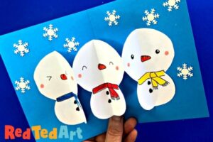 Easy Paper Chain Pop Up SNowman Cards - cute kawaii snowmen Christmas cards