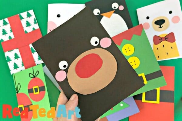 Super Simple Rudolph Christmas card to make in less than 3min