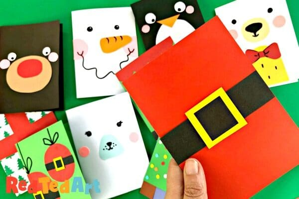 Super simple Santa Christmas card for classroom crafts