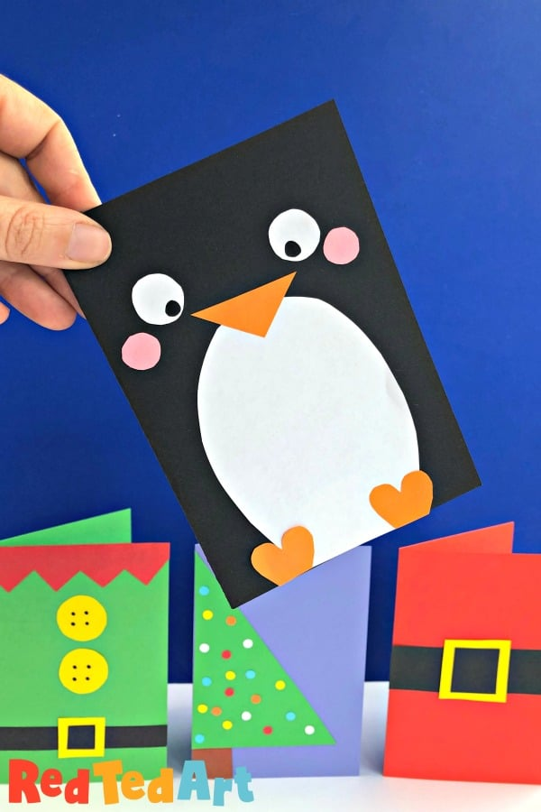 Super Simple Penguin Card Design as part of the Quick Christmas Card Series