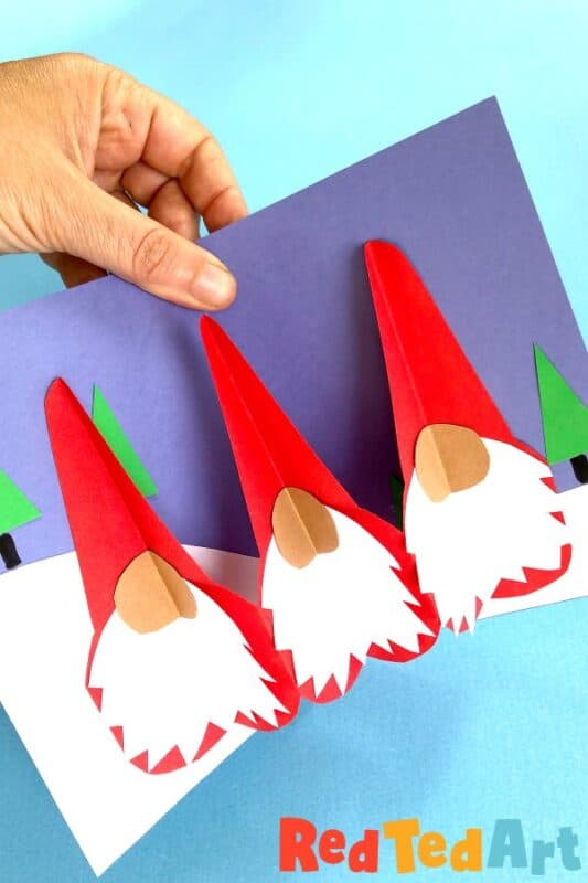 Super fun Gnome Cards for Christmas, how make a paper chain gnome pop up card