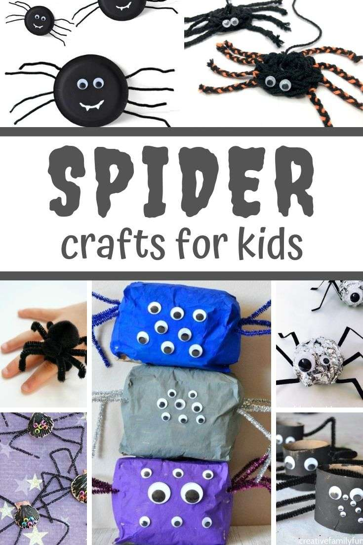 Collage of easy Spider Crafts for Kids to make this Halloween
