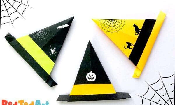 Paper Origami Witch Hat with doodle details or add stickers to decorate