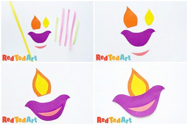 Collage of step by steps to make a Paper Diya Garland for Diwali