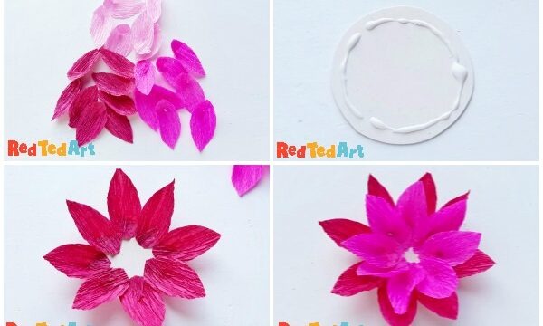 Collage of step by step Paper Lotus Light DIY