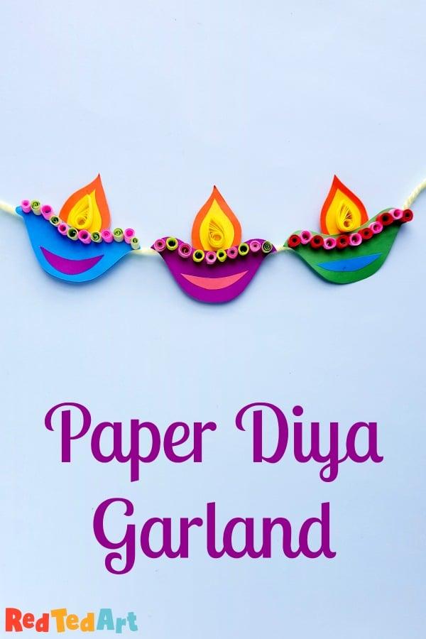Paper Diya Garland for Diwali