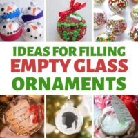 Easy ideas to fill glass ornaments for Christmas