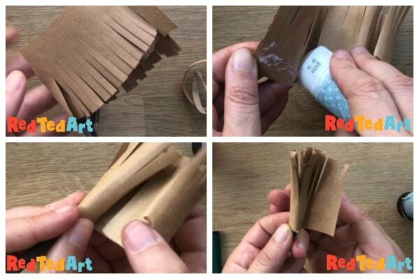 Collage of how to make a miniature broom