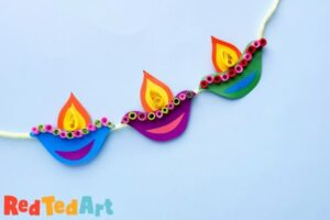 Paper Diya Garland for Diwali