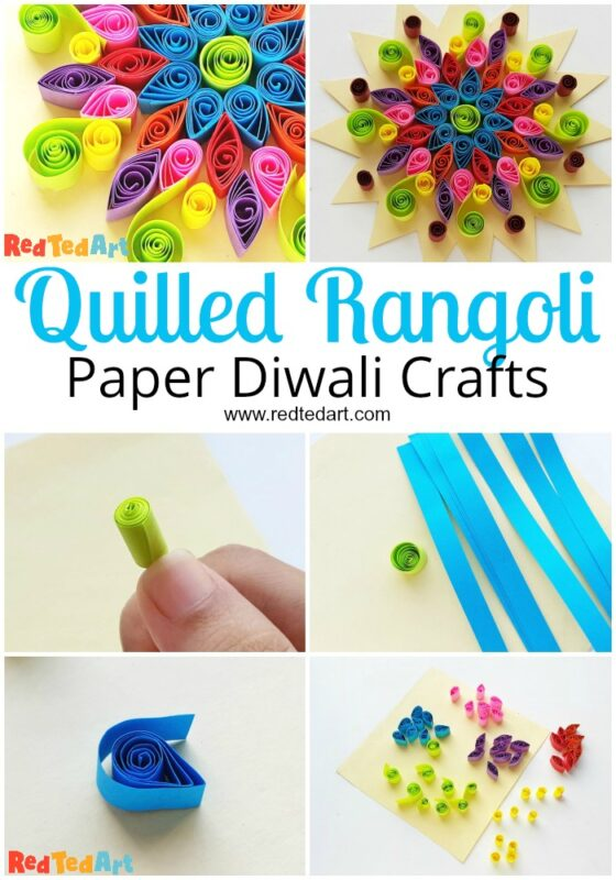 Collage of Paper Quilled Rangoli Pattern for Diwali
