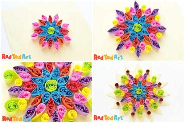 Collage of step by step quilled rangoli patterns