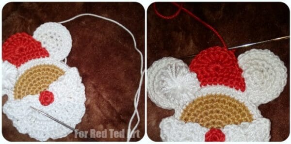 Cute Santa Mouse Crochet pattern to make a set of Christmas Ornaments