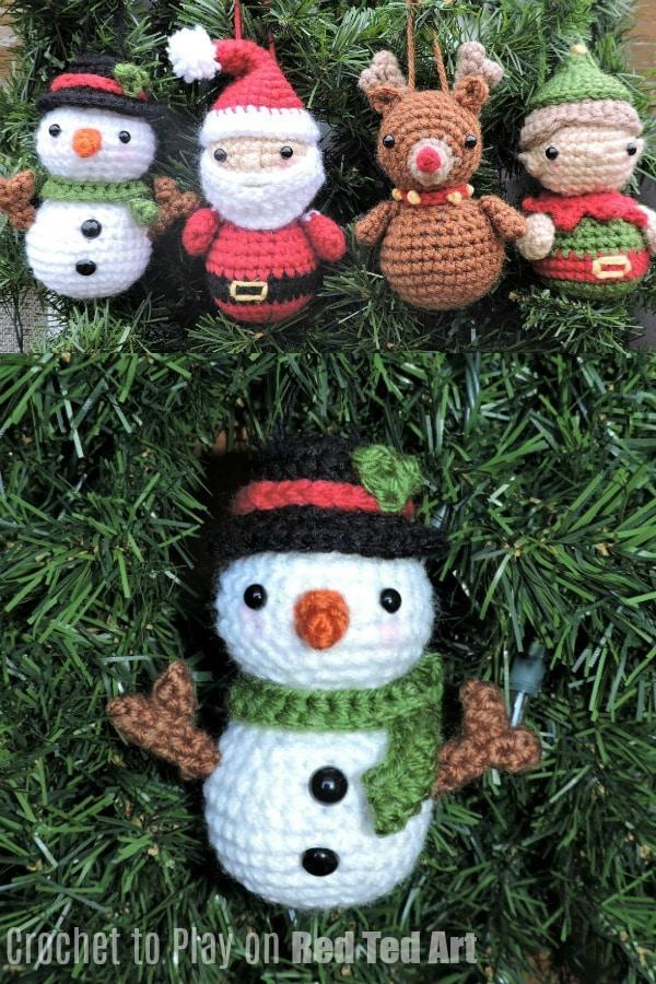 Adorable Snowman Crochet Ornament