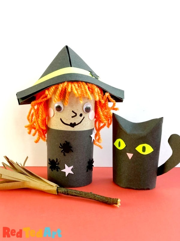 Toilet Paper Roll Witch with cat and broom